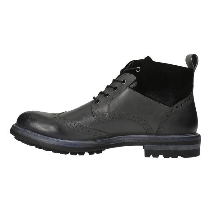 Kožená kotníčková obuv s Brogue zdobením bata, šedá, 896-2646 - 26