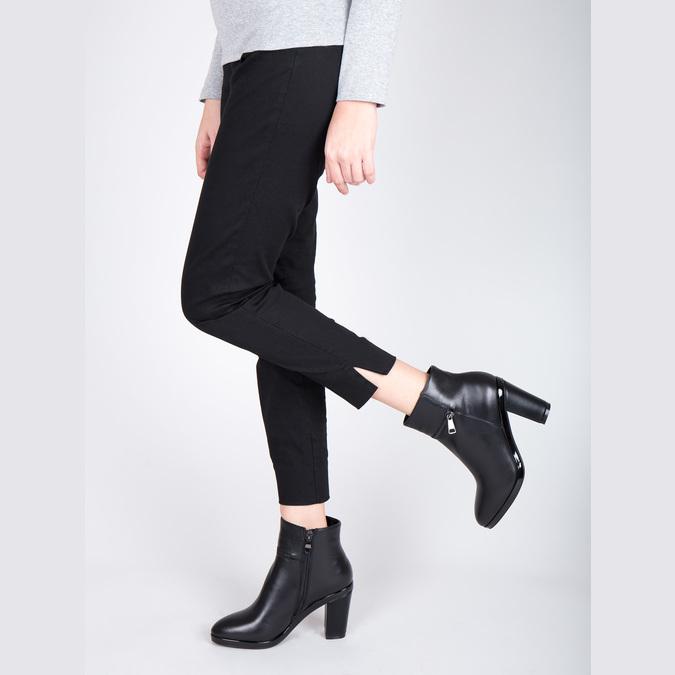 Kožená kotníčková obuv na podpatku bata, černá, 694-6632 - 15