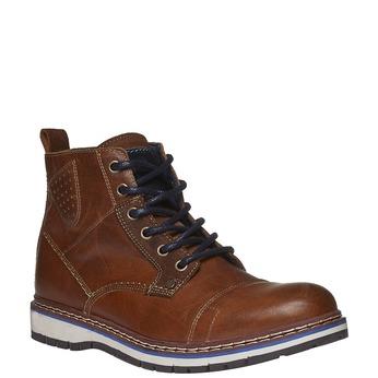 Kožené kotníkové boty s kulatou špičkou bata, hnědá, 894-4105 - 13