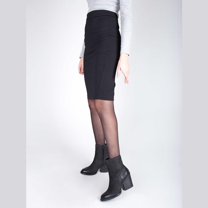 Kožená kotníčková obuv na širokém podpatku bata, černá, 696-6612 - 18