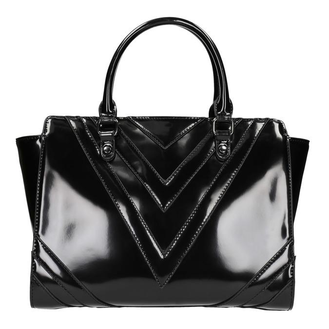 Lakovaná kabelka s prošitím bata, černá, 961-6708 - 26