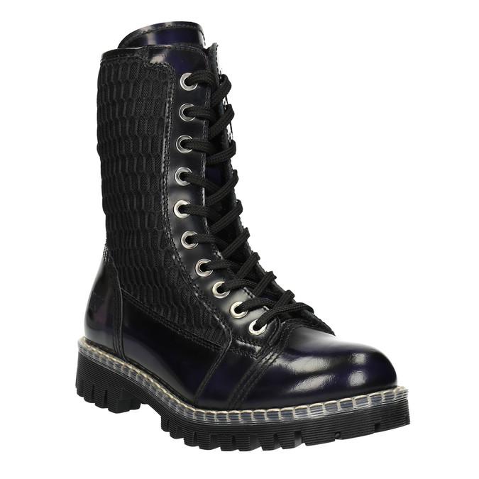 Kožená šněrovací obuv na výrazné podešvi weinbrenner, černá, 596-9635 - 13