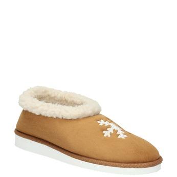 Domácí pantofle s umělým kožíškem bata, béžová, 579-8612 - 13
