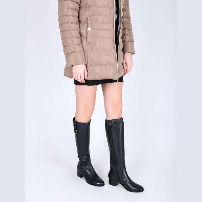 Dámské kožené kozačky na nízkém podpatku bata, černá, 694-6631 - 18