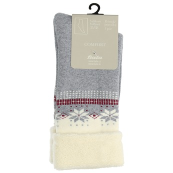 Teplé dámské ponožky bata, šedá, 919-2421 - 13