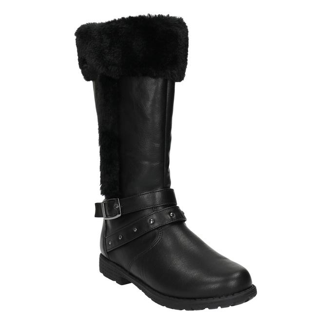 Dívčí kozačky s kožíškem mini-b, černá, 391-6600 - 13