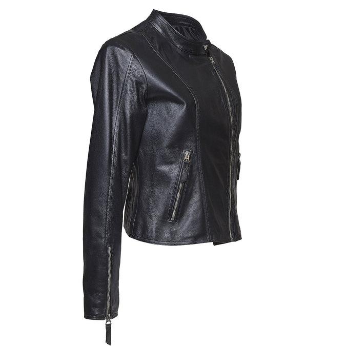 Dámská kožená bunda bata, černá, 974-6145 - 16