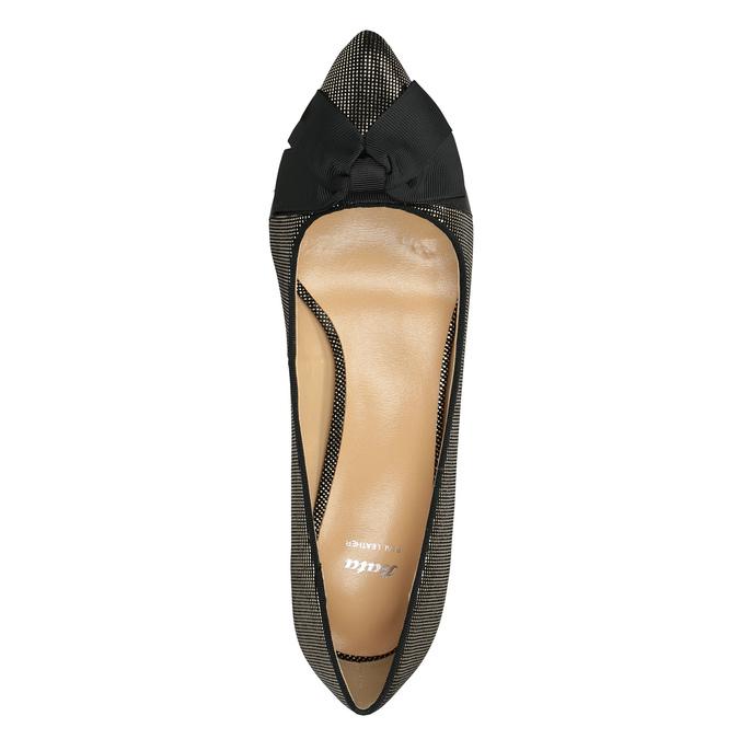 Lodičky s mašlí bata, černá, zlatá, 629-8630 - 19