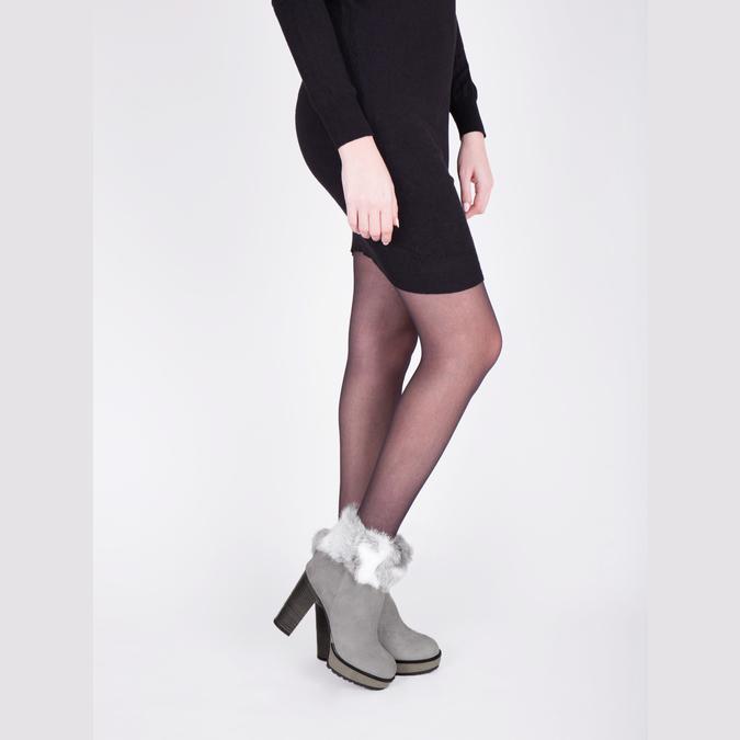Kožená kotníčková obuv s pravým kožíškem manas, šedá, 793-2603 - 18