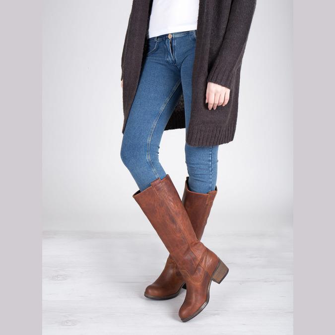 Vysoké kožené kozačky ve Western stylu bata, hnědá, 696-3608 - 18