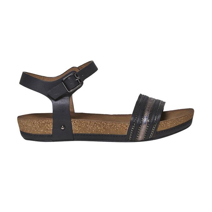 Dámské sandály na výrazné podešvi bata, černá, 561-6404 - 15