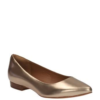 Zlaté kožené baleríny clarks, zlatá, 526-8003 - 13