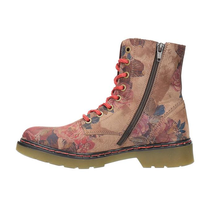 Kožná kotníčková obuv s květinovým vzorem bata, růžová, 596-5609 - 26