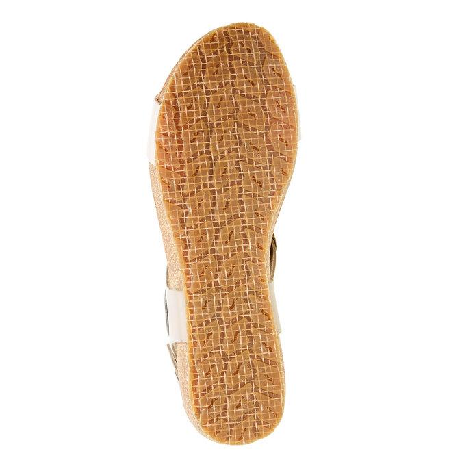 Kožené sandály s perforovaným páskem tbs-, béžová, 564-3012 - 26