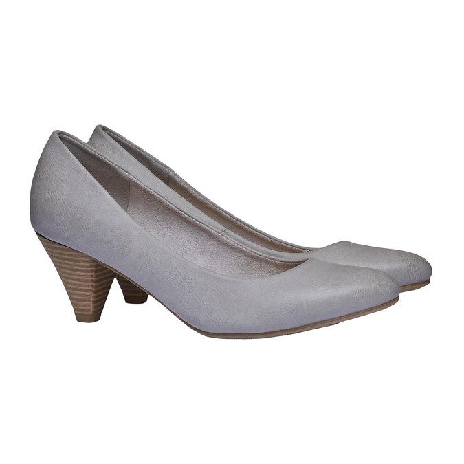 Dámské lodičky na zkoseném podpatku bata, šedá, 621-2949 - 26