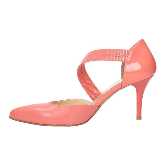 Dámské lodičky do špičky s páskem přes nárt bata, vícebarevné, růžová, 724-0904 - 26