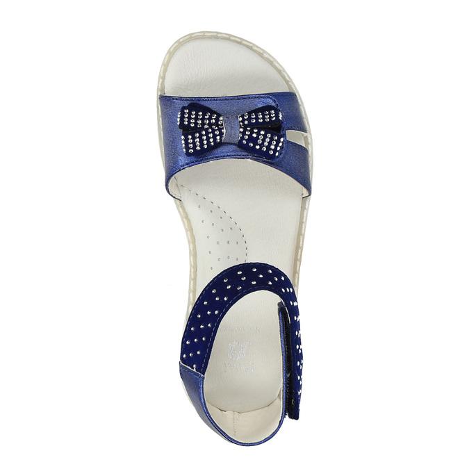 Dívčí sandály s mašlí mini-b, modrá, 261-9160 - 19