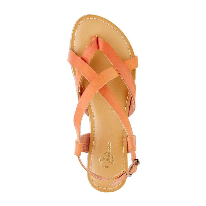 Dámské nízké kožené sandály bata, oranžová, 2021-564-5452 - 19