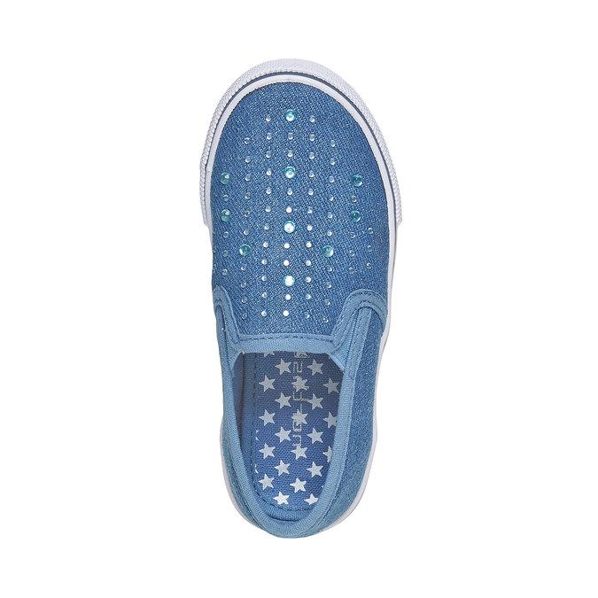 Dívčí Slip on boty s kamínky mini-b, modrá, 229-9148 - 19