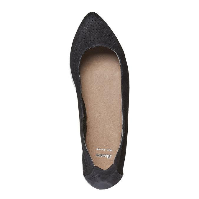 Kožené baleríny s perforací bata, černá, 526-6486 - 19