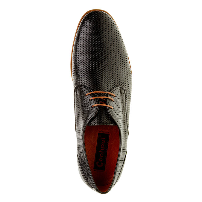 Kožené polobotky s pleteným vzorem conhpol, černá, 826-6300 - 19