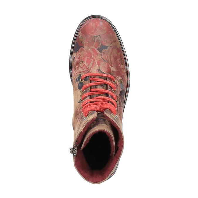 Kožná kotníčková obuv s květinovým vzorem bata, růžová, 596-5609 - 19