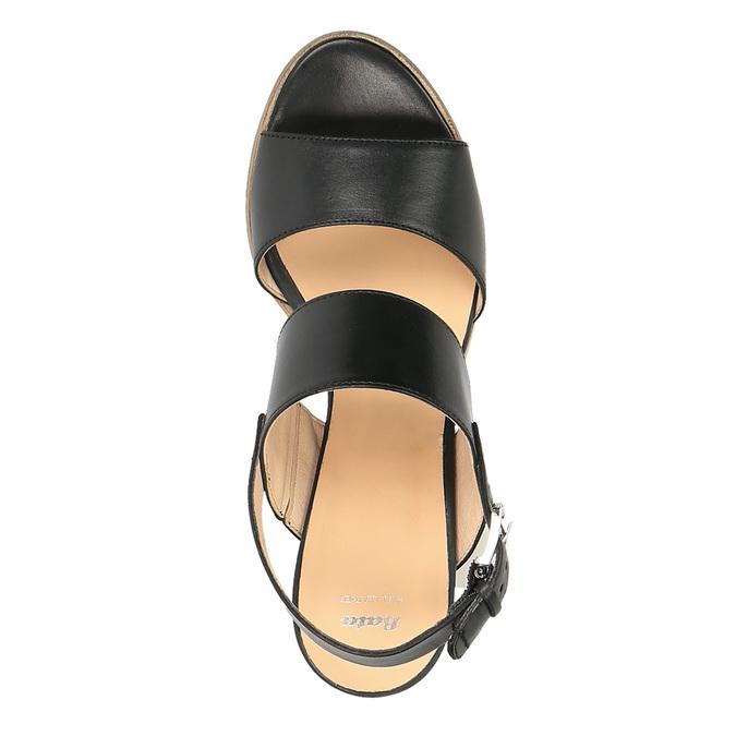 Kožené sandály na širokém podpatku bata, černá, 664-6205 - 19