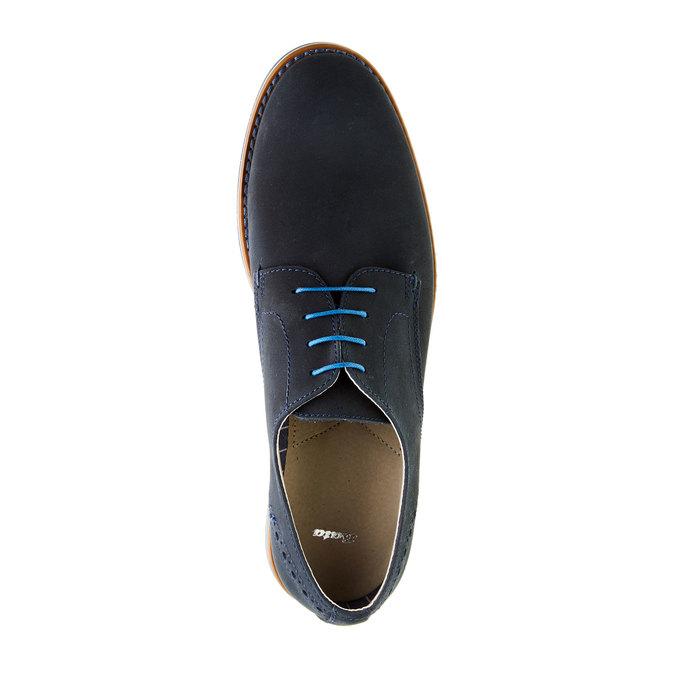 Kožené polobotky s barevnou podešví bata, modrá, 826-9839 - 19