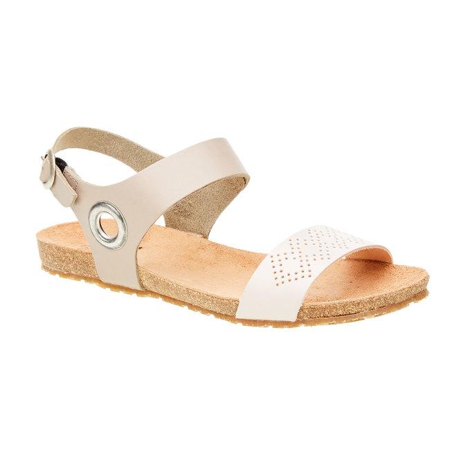 Kožené sandály s perforovaným páskem tbs-, béžová, 564-3012 - 13