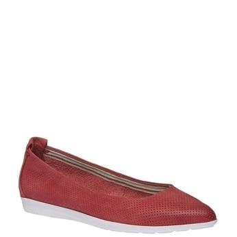 Kožené baleríny s perforací bata, červená, 526-5486 - 13