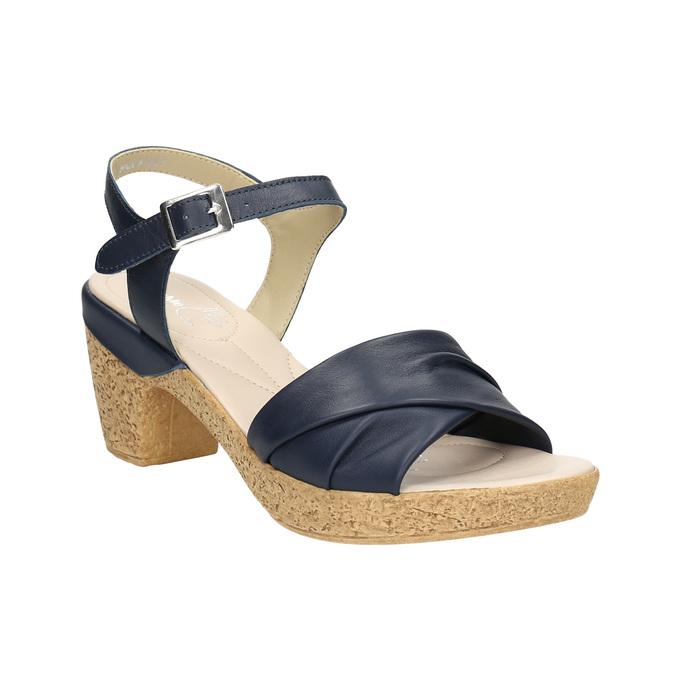 Kožené sandály na nízkém podpatku bata-touch-me, modrá, 666-9203 - 13