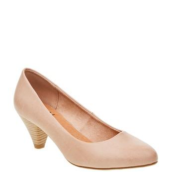 Dámské lodičky na zkoseném podpatku bata, růžová, 621-5949 - 13