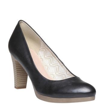 Kožené lodičky na širokém podpatku bata, černá, 724-6948 - 13