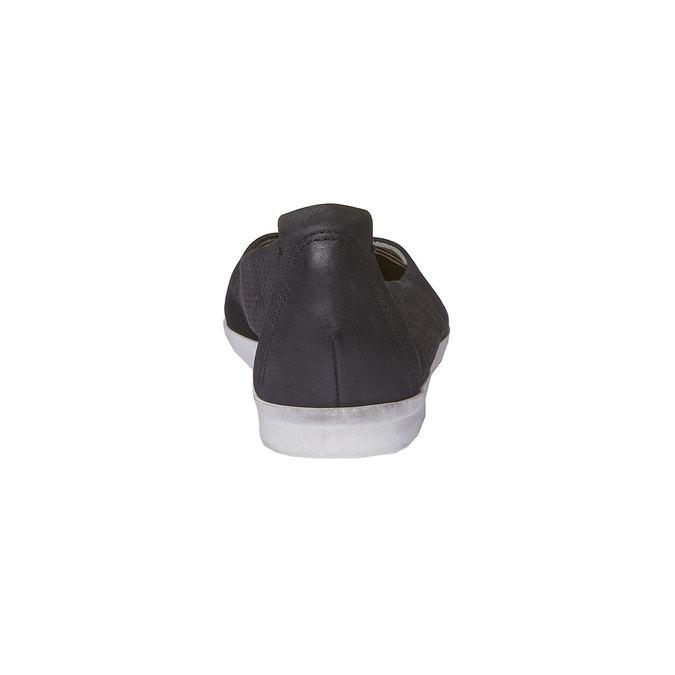 Kožené baleríny s perforací bata, černá, 526-6486 - 17