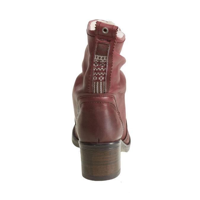Kožená kotníčková obuv bata, červená, 696-5108 - 17