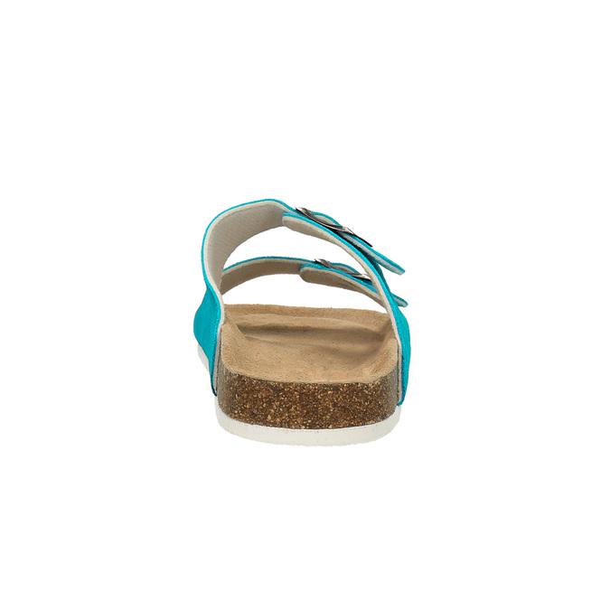 Dámské kožené pantofle de-fonseca, tyrkysová, 573-9620 - 17