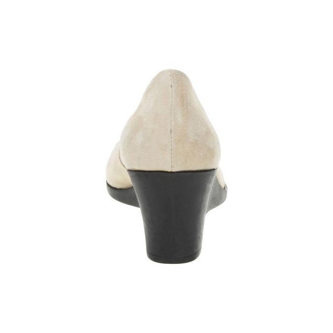 Kožené lodičky na klínovém podpatku flexible, béžová, 623-8395 - 17