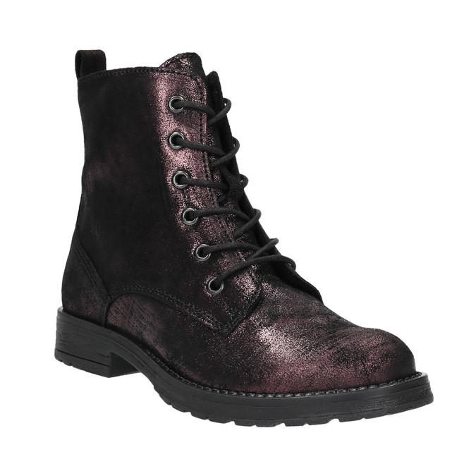 Kožená dětská šněrovací obuv richter, černá, fialová, 396-5012 - 13