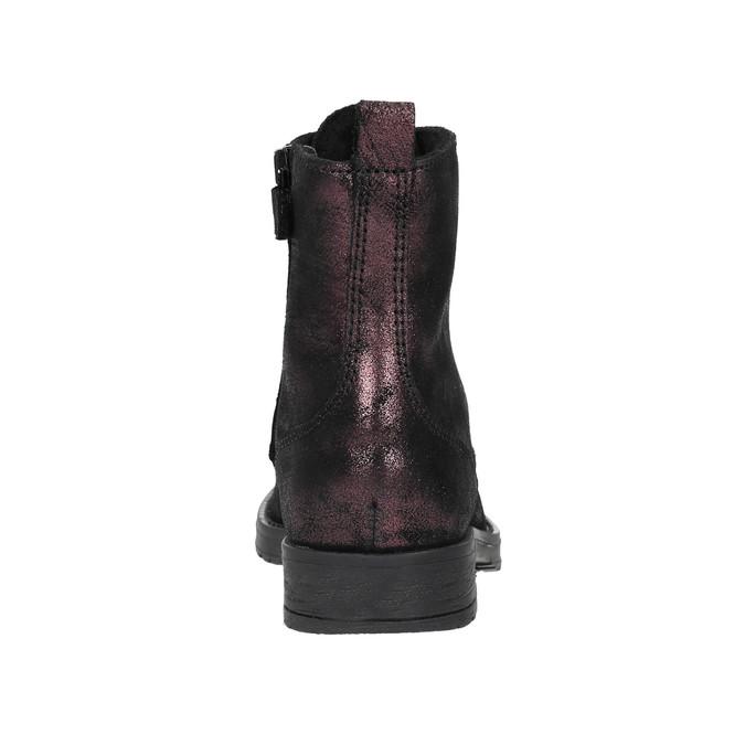 Kožená dětská šněrovací obuv richter, černá, fialová, 396-5012 - 17
