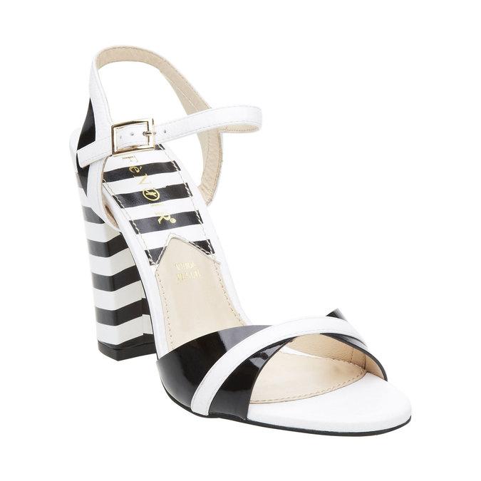 Dámské kožené sandály na masivním podpatku cafe-noir, bílá, 764-1007 - 13