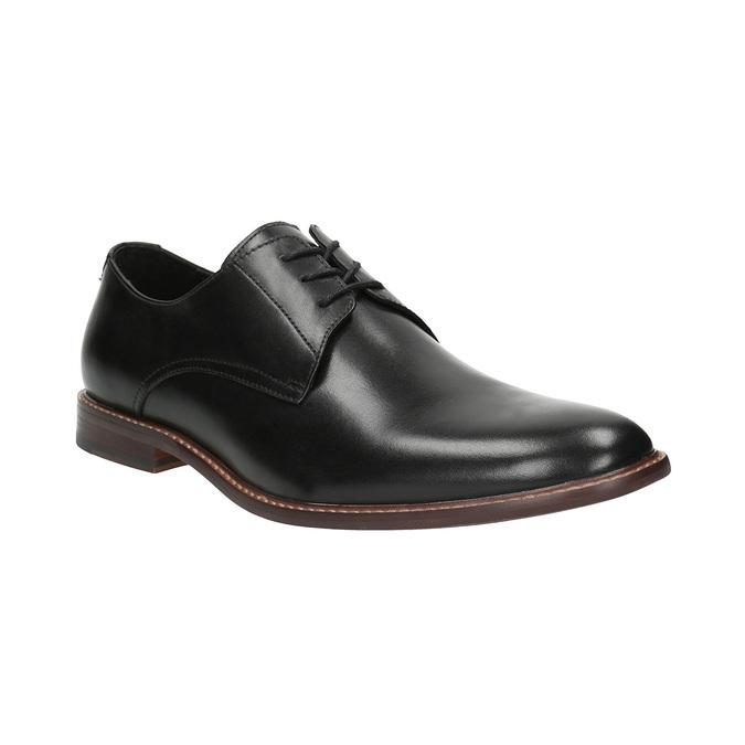 Černé kožené polobotky s výrazným obšitím bata, černá, 824-6684 - 13