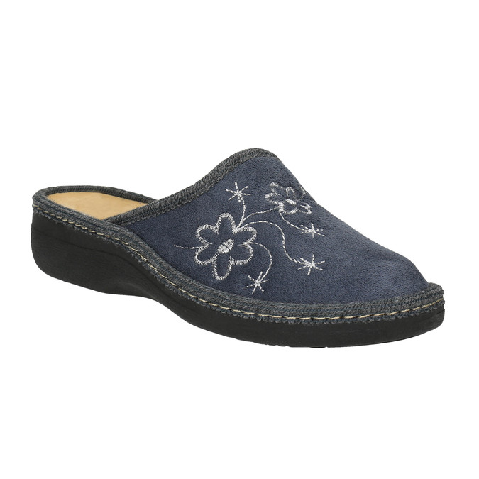 Domácí pantofle s výšivkou bata, modrá, 579-2280 - 13