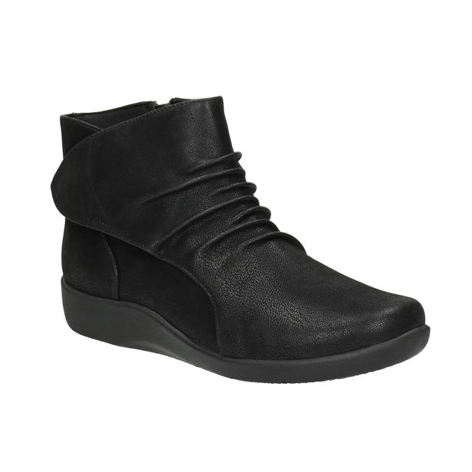 Kotníčková obuv s nařasením na nártu clarks, černá, 611-6006 - 13