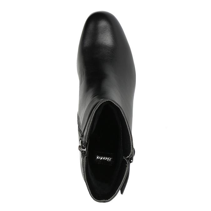 Kožené kotníčkové kozačky na nízkém podpatku bata, černá, 694-6630 - 19