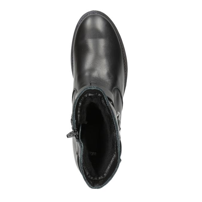 Dámské kožené kozačky s přezkou bata, černá, 596-6141 - 19