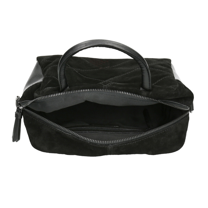 Malá kožená kabelka s popruhem bata, černá, 963-6133 - 15