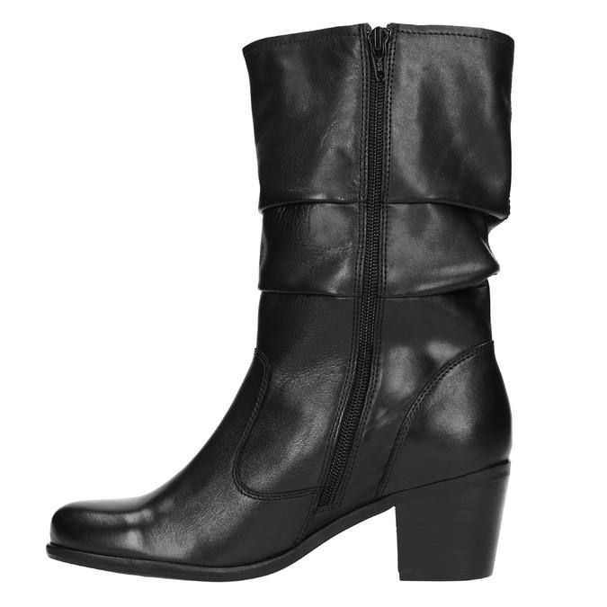 Černé kožené kozačky bata, černá, 694-6601 - 19