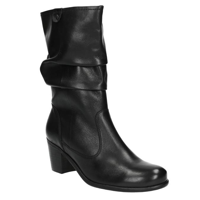 Černé kožené kozačky bata, černá, 694-6601 - 13