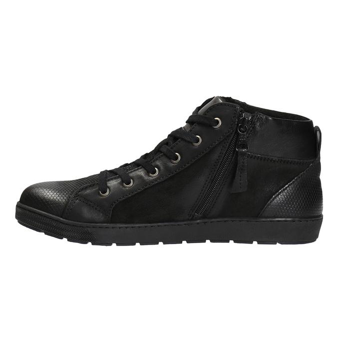Kožená kotníčková obuv pánská bata, černá, 846-6602 - 26