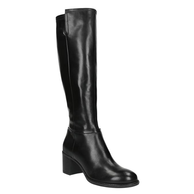 Dámské kozačky na stabilním podpatku bata, černá, 694-6361 - 13